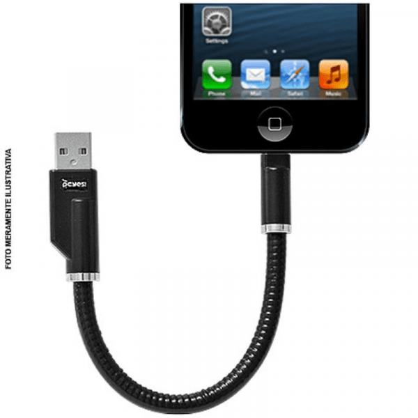Cabo Iphone 5 USB  Rigido LighTNing 8 Pinos 20Cm