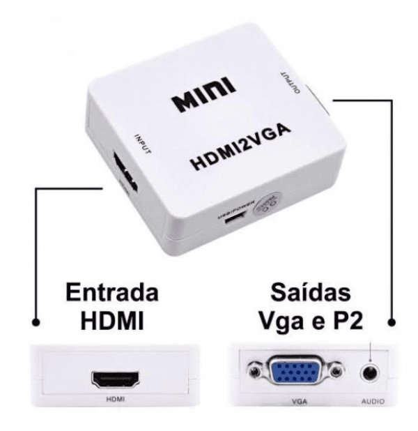Conversor Video Composto HDMI Para VGA 1080P