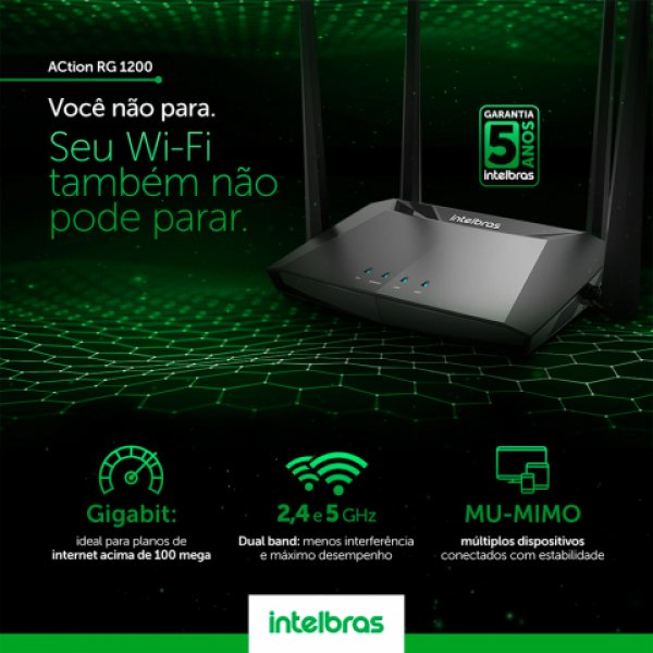 Roteador Wireless Action **RF1200 Dual Band AC 1200 Mbps Intelbras